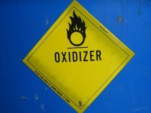One of the hazard class label used when shipping oxidizers.