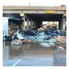 tractor trailer accident cleanup fuel spill
